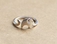 Super cute elephant ring, open adjustable, thick 999 sterling silver, man woman boy girl, long tooth, original design, handmade, fun elegant on Etsy, $51.72
