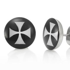 Trendy Stainless Steel Black Mens Stud Earrings Crutch Cross | RnBJewellery