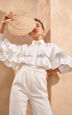 Piece of White Monique Ruffled Cotton Poplin Shirt White Fashion, Look Fashion, Korean Fashion, Womens Fashion, Fashion Design, White Shirts Women, Mode Jeans, Looks Chic, Ruffle Shirt