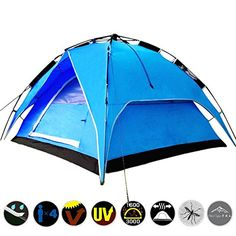 Tents  Canopies 34 person Outdoor Double layer Waterproof Family Camping Hiking Instant Tent * You can find more details by visiting the image link.