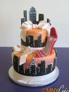 ny cake for party | sex in the city birthday cake new york city skyline nyc bow red shoe