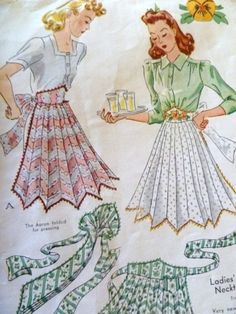 1950s Vintage Pleated Apron Pattern by McCalls