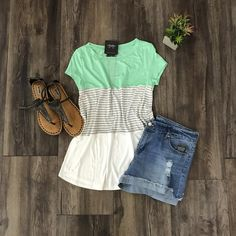 Color Block Tee w/Stripes | Cute Casual | Outfit Ideas Spring Summer 2017 | Stitch Fix Inspiration | What to Wear |