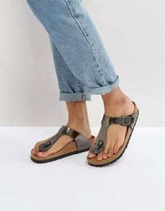 2356a4ee788 Birkenstock Gizeh Metallic Anthracite Leather Narrow Fit Flat Sandals