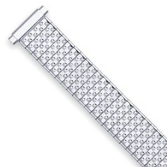 """Women's Expansion Stretch Watch Band - Silver (fits 11mm to 14mm). Spring loaded ends allow band to fit watch sizes 11mm to 14mm. Satin finish. Link width is 11mm. Band thickness is 3mm. Band length is 5.75"""". FREE SHIPPING!."""