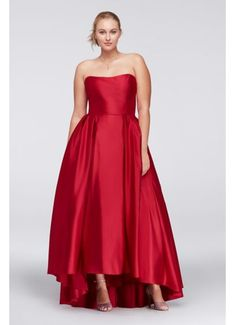 df2b80638c7d5 High-Low Lamour Satin Plus Size Ball Gown A18224W Plus Size Gowns Formal,  Evening
