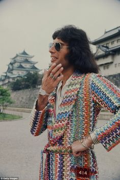 Mercury enjoying the scenery at the Nagoya Castle, Nagoya, Japan, April 22, 1975