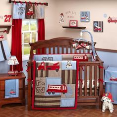 8pc Red and Blue & Brown Truck Engine Rescue Ladder Tracks Baby Boy Crib Bedding