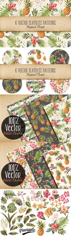 Seamless Tropical Patterns Vol 2 by Graphic Box | The Comprehensive, Creative Vectors Bundle Mar 2015 from Design Cuts