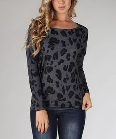 Loving this Charcoal Lepoard Boatneck Top on #zulily! #zulilyfinds