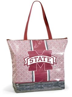 """Go Dawgs!We are loving this greek key pattern! Our all-purpose shopper tote with its slick exterior, greek key design and Mississippi State logo is the perfect carryall for game day and everyday! Trendy greek key pattern with M State on front and """"Go Dawgs"""" printed along the bottom make this tote so unique! Great gift for every Mississippi State fan! www.desden.com $32 #MState"""