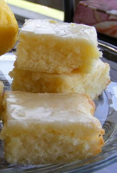Lemon Brownies using fresh lemon juice and zest. Line pan with parchment paper for easy removal.