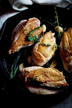 Roasted chicken breasts with fresh sage