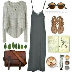 fall dress with sweater and leather bag