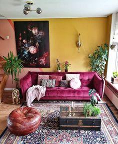 Design by mindy_schroor My Living Room, Home And Living, Living Room Decor, Living Spaces, Bedroom Decor, Gouts Et Couleurs, Living Comedor, Diy Décoration, Eclectic Decor