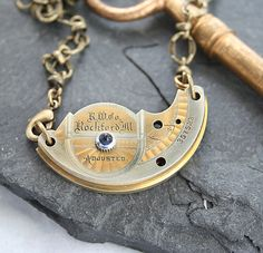 Steampunk Necklace, Rare Two Tone Antique Watch Plate, Guilloche Etching, Antique Watch Movement, Men Steampunk Necklace, Reversible