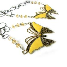 Yellow Butterfly Curtain Tiebacks Butterfly by EarthlieTreasures, $21.95