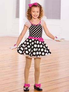 Happy Feet - Style 0341 | Revolution Dancewear Children's Dance Recital Costume, Pokey Dots of joy!