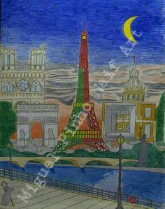 Portugal em festa por Paris. Pintura a lápis no papel com 80 X 60