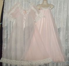 Vtg Pink Frilly Tosca Sheer Chiffon Peignoir Robe Nightgown Negligee Gown L | eBay