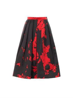 Tibi Splash Print Midi Skirt in red (as worn by Blair Eadie of Atlantic Pacific)