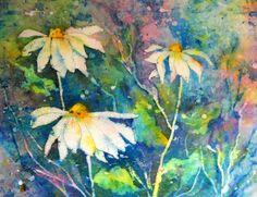 Watercolor Batik Daisies