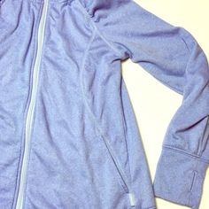 Light Track Work Out Jockey Hoodie 🔆 Great condition. This has thumb holes. Nice light jacket for track. Stretchy. Soft blue color. 💙 Jockey Tops Sweatshirts & Hoodies
