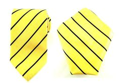Mens Necktie Yellow Black Striped 8.5 CM Necktie with Pocket Square.