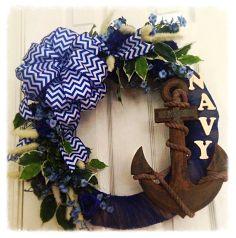 USA Navy burlap wreath.