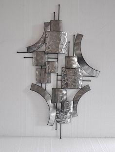 Sculpture metal contemporain eyes acier 95x5x50cm - Sculpture murale contemporaine ...