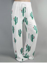 High Waist Cacti Print Wide Leg Pants - WHITE
