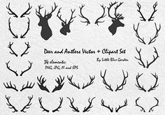 Deer and Antlers Clip Art, vector antlers, graphic design elements-Instant Download on Etsy, $3.50