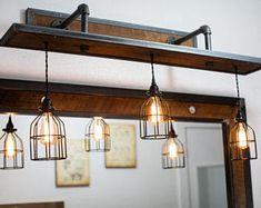 Rustic Industrial Light - Steel and Barn Wood Vanity Light (Cage Shade) w/bulbs Metal Industrial, Industrial Chandelier, Rustic Industrial Decor, Rustic Lighting, Industrial Lighting, Cool Lighting, Rustic Decor, Farmhouse Decor, House Lighting