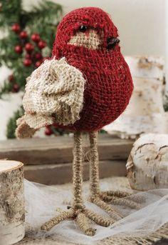 Red Burlap Bird..$6.99