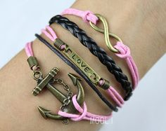 pink leather bracelet infinity love anchor bracelet,charm personalized gift