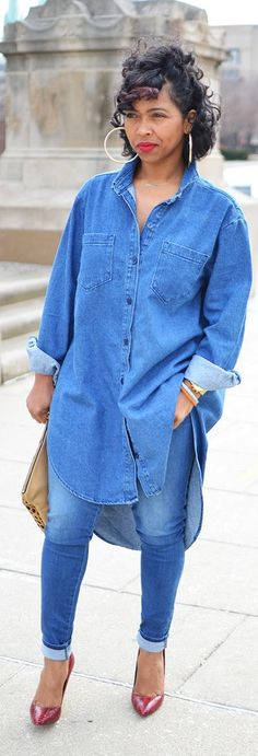 I love these oversized jean shirts.