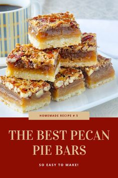 The Best Pecan Pie Bars - this easy recipe includes a simple shortbread bottom and a one bowl mix & pour topping. Tips for baking and cutting them are included. They freeze well too, so they are the perfect treat for Thanksgiving or Christmas. Easy Pie Recipes, Quick Easy Desserts, Pecan Recipes, Candy Recipes, Cookie Recipes, Delicious Desserts, Dessert Recipes, Pecan Desserts, Best Pecan Pie