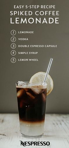 What do you get when you combine iced coffee with refreshing lemonade? This Spiked Coffee Lemonade Cocktail of course! Perfect for every summer entertaining event—including pool parties, bridal showers, and weekend brunch—this easy recipe will be a hit with party guests. All you need is a Nespresso Double #espresso Chiaro Capsule, vodka, simple syrup, and lemonade. Learn more from The Kentucky Gent. This recipe contains alcohol. Please drink responsibly.