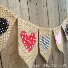 Hearts Burlap and Fabric Banner // Valentine's door LisaTCreations