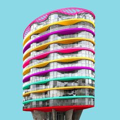 Paul Eis reimagines Berlin's buildings with coloured-extensions challenging to the reality
