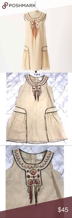 """Anna Sui Hiawatha Beige Embroidered Dress Anna Sui beige Hiawatha embroidered shift Dress as 2. Small pale gray spot on front near bottom hem. Shown in pics. Measurements laying flat: armpit to armpit 18"""", length 35"""" Anna Sui Dresses Mini"""
