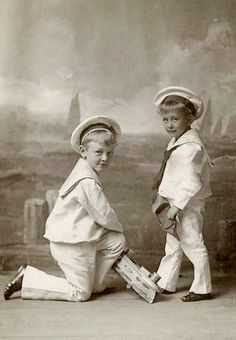 +~+~ Antique Photograph ~+~+ Sailors suit boys and a toy boat.