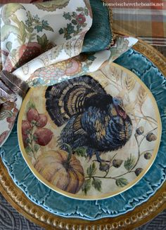 A Proud Tom Turkey provided little table inspiration with Thanksgiving a couple of weeks away! Along with new Fresco Turkey Plates on sale from Pottery Barn. This table came together by happenstan… Thanksgiving Table Settings, Thanksgiving Parties, Thanksgiving Tablescapes, Holiday Tables, Thanksgiving Decorations, Thanksgiving Dinnerware, Thanksgiving Ideas, Thanksgiving Dinner Plates, Holiday Ideas