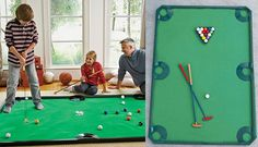 Putt Putt Pool  Quit playing pool on a table and golf at a golf course and combine the two with putt putt pool. Just roll out the mat and set a game up anywhere in your house for a quick game which is great for kids. With a few hits of the golf putter you could be a pool champion in your own house.
