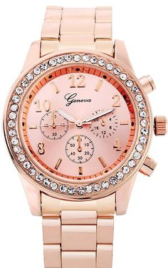 Geneva Bling Rose Gold Plated Classic Round Watch for Ladies Geneva, Bling Jewelry, Rose Gold Plates, Gold Watch, Rolex Watches, Lady, Classic, Womens Fashion, Accessories