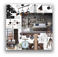 """Industrial Home Decor"" by marionmeyer on Polyvore featuring interior, interiors, interior design, Zuhause, home decor, interior decorating, WALL, Tribecca Home, Elegant Lighting und IndustrialHomeDecor"