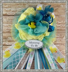 Rubber Duck Mommy To Be Corsage Baby Shower by BloomingParty Baby Shower Duck, Baby Showers, Rubber Duck, Corsage, Shower Ideas, Cactus, Parties, Holidays, Inspired