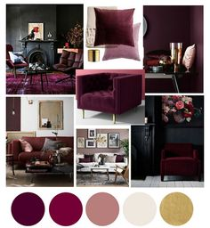 Autumn Winter colour color trends interior home decor Burgundy mulberry dark berry cherry plum velvet accent chair black walls cushion blankets brass gold accessories Burgundy Bedroom, Burgundy Walls, Burgundy Decor, Burgundy Living Room, Plum Bedroom, Plum Living Rooms, Plum Decor, Plum Walls, Red Walls