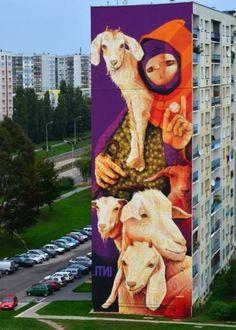 INTI (Chile): Wyszyńskiego 80, Łódź Największy polski mural: 33 metry wysokości i 13 metrów szerokości.   - zdjęcie