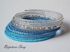 Blue and silver elegance - náramek